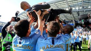 Pep Guardiola celebrates