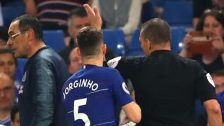 Maurizio Sarri is sent off against Burnley