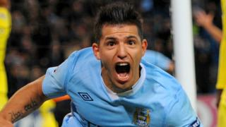 Sergio Aguero celebrates his first Champions League for Manchester City