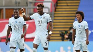 Tammy Abraham celebrates scoring against Crystal Palace