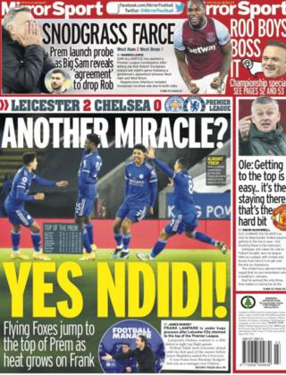 Leicester on the Mirror back page