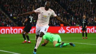 Romelu Lukaku celebrates his second goal