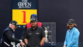 Shane Lowry and Tommy Fleetwood on the first tee