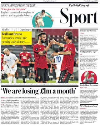 The Daily Telegraph leads on on Manchester United's progress in the Europa League