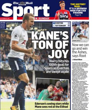 The Mail on Sunday focuses on Harry Kane bringing up his 100th and 101st goals for Tottenham