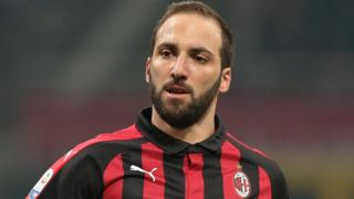 Gonzalo Higuain playing for AC Milan