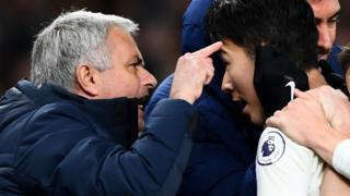Spurs boss Jose Mourinho and striker Son Heung-min