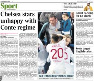 The Times report Chelsea players are unhappy with manager Antonio Conte