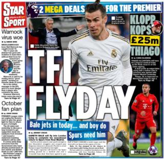 Gareth Bale's move to Tottenham features on several back pages