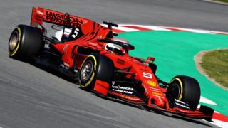 Sebastian Vettel in the Ferrari