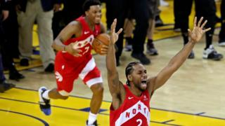 The Toronto Raptors' Kawhi Leonard celebrates the NBA Finals won over the Golden State Warriors