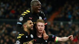 Manchester City celebrate win at Real Madrid