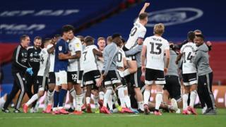 Fulham celebrate promotion