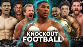 Anthony Joshua plays Knockout Football