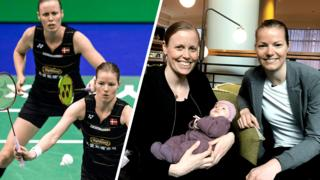 Kamilla Rytter Juhl and Christinna Pedersen with their baby daughter, Molly