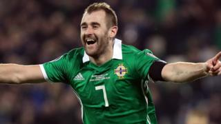 Niall McGinn celebrates scoring against Estonia