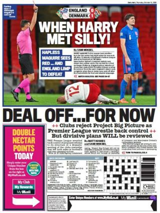 Thursday's Mail back page with the headline 'When Harry Met Silly' and a picture of Harry Maguire being sent off while playing for England
