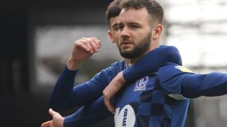 Adam Armstrong celebrates his goal against Brentford