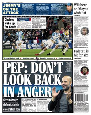 Daily Express back page on Wednesday featuring Pep Guardiola