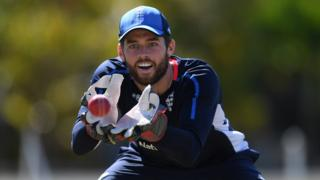 England wicketkeeper Ben Foakes catches a ball in training before the West Indies Test series begins