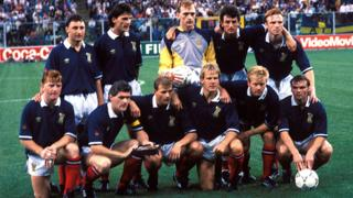 The Scotland team that faced Sweden in 1990