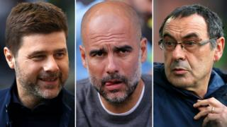 Mauricio Pochettino, Pep Guardiola and Maurizio Sarri