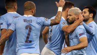 Manchester City celebrate Sergio Aguero's equaliser