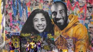 Mural art of Kobe and Gianna Bryant
