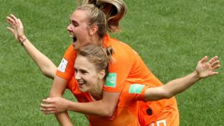 Vivianne Miedema celebrates scoring the third goal for the Netherlands