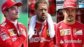 Charles Leclerc, Sebastian Vettel and Fernando Alonso in Ferrari colours