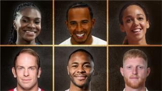 Dina Asher-Smith, Lewis Hamilton, Katarina Johnson-Thompson, Alun Wyn Jones, Raheem Sterling and Ben Stokes