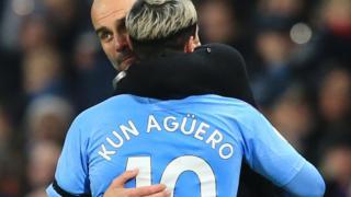 Sergio Aguero and Pep Guardiola