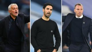Jose Mourinho, Mikel Arteta and Brendan Rodgers