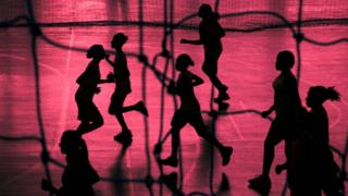 Silhouette of female sports athletes