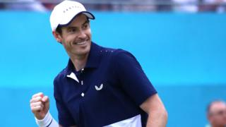 Murray fist pumps in celebration