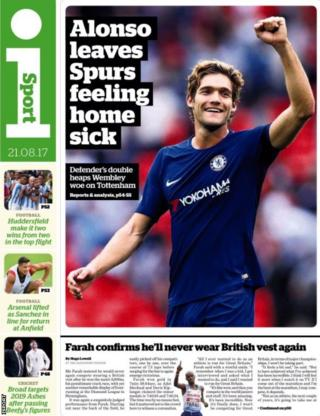 The isport back page on Monday