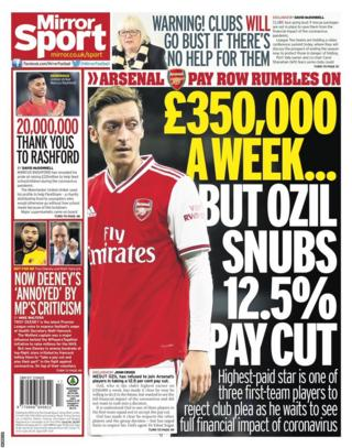 The back pages of Tuesday's Mirror