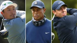 Haotong Li (left), Tiger Woods (centre) and Rory McIlroy (right)