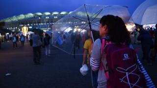 Umbrellas outside the stadium