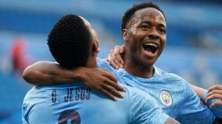 Raheem Sterling celebrates scoring for Manchester City against Real Madrid in the Champions League