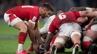 Wales rugby scrum against England