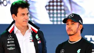 Mercedes' Toto Wolff and Lewis Hamilton
