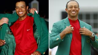 Tiger Woods gets the green jacket in 2005 and again in 2019