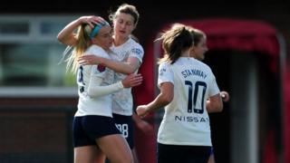 Manchester City celebrate Chloe Kelly's opener