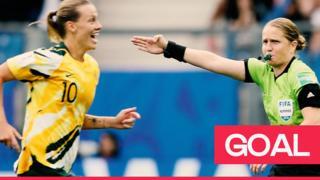 Australia celebrate Brazil own goal