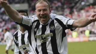 Alan Shearer celebrates scoring a goal for Newcastle in 2006