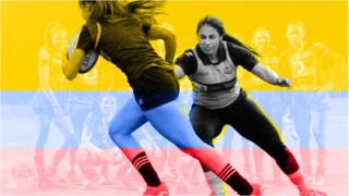 Graphic showing Isabel Romero playing rugby, featuring the colours of Colombia's flag