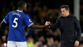 Everton manager Marco Silva and defender Kurt Zouma