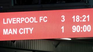 Scoreboard shows Liverpool leading Man City 3-1
