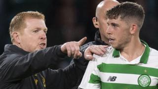 Celtic manager Neil Lennon and Ryan Christie